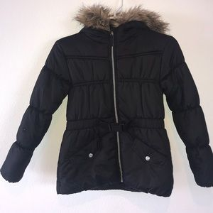Girl's Rothschild fur trim hoped Puffer M(10-12)